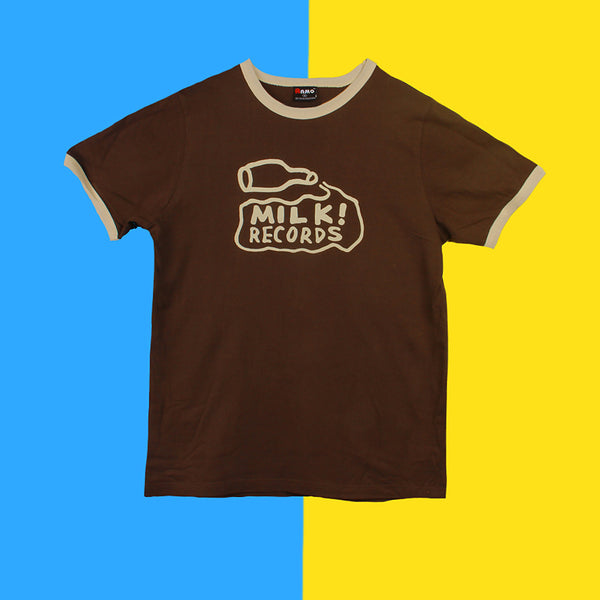 "MILK! RECORDS ""Classic Milk Ringer"" TSHIRT [BROWN/BONE]"