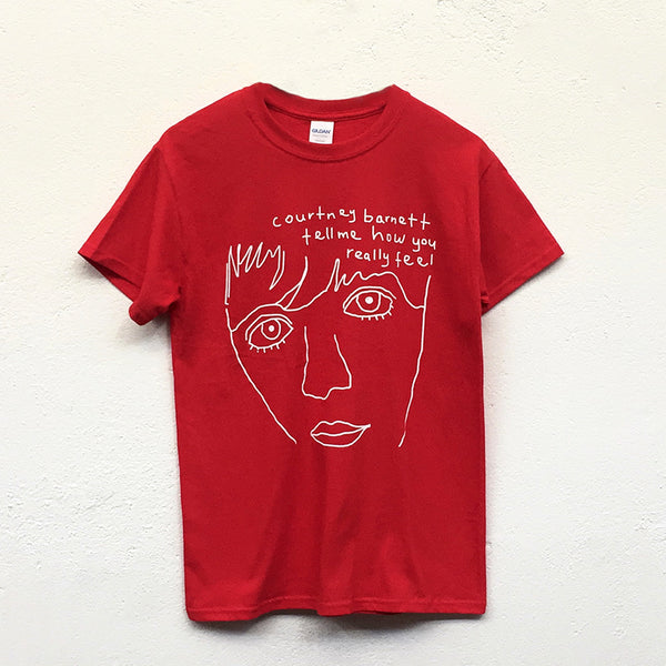 "COURTNEY BARNETT ""Tell Me Line Drawing"" by Courtney Barnett TSHIRT [RED]"