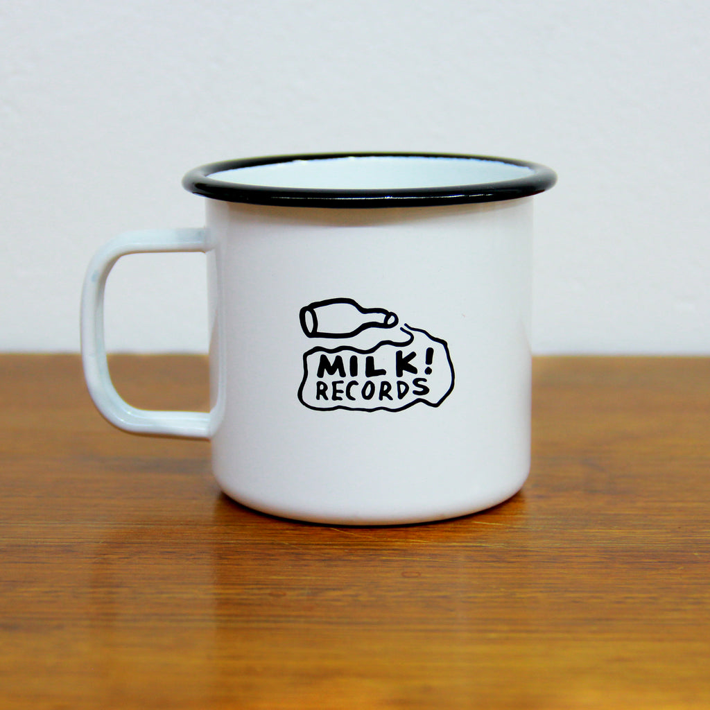 MILK! RECORDS logo enamel mug