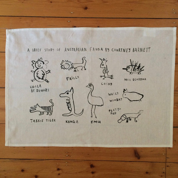COURTNEY BARNETT A Brief Study Of Australian Fauna TEATOWEL. SALE, TEATOWEL. Official merchandise exclusive to Milk! Records Store.