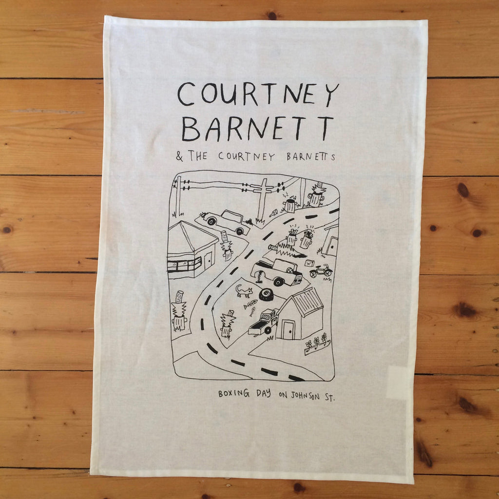COURTNEY BARNETT Boxing Day On Johnson Street TEATOWEL. SALE, TEATOWEL. Official merchandise exclusive to Milk! Records Store.