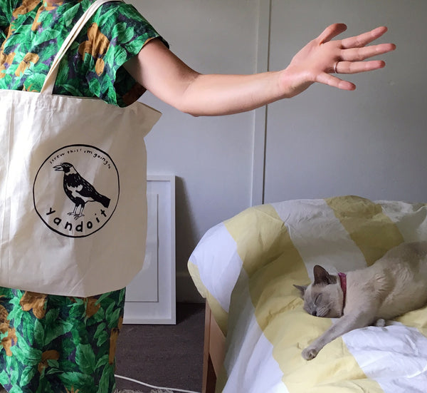 "STEPH HUGHES ""Screw this, I'm Going To Yandoit"" TOTE BAG. TOTE BAG. Official merchandise exclusive to Milk! Records Store."