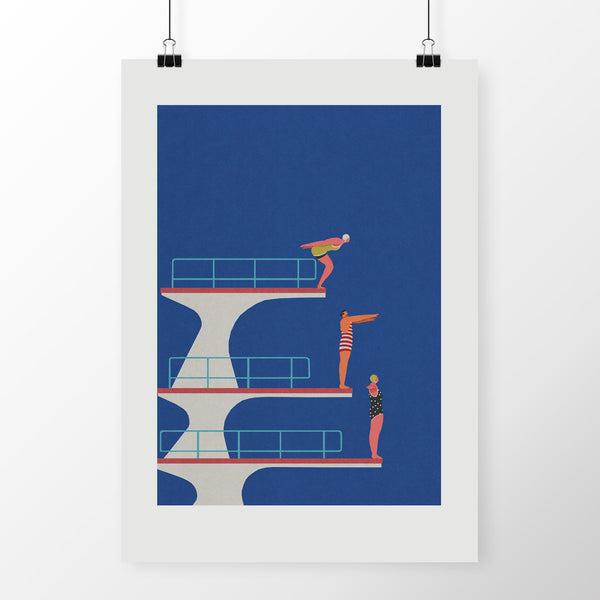 "CELESTE POTTER ART ""Dive"" A2 Giclee Print. PRINT. Official merchandise exclusive to Milk! Records Store."