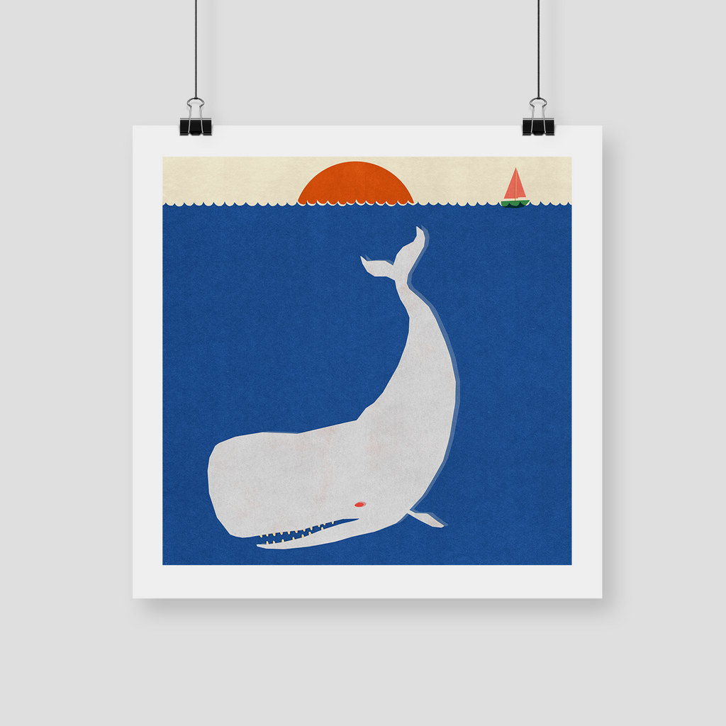 "CELESTE POTTER ART ""Moby Dick"" Giclee Print. PRINT. Official merchandise exclusive to Milk! Records Store."