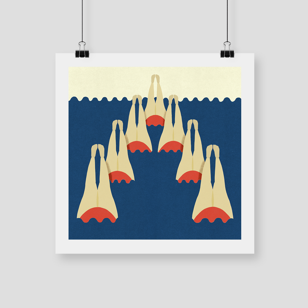 "CELESTE POTTER ART ""Synchronised Swimming"" Giclee Print. PRINT. Official merchandise exclusive to Milk! Records Store."