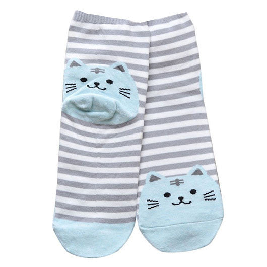 Striped Kitty Socks (6 Colors)