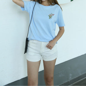 Embroidered Little Flowers Tee (2 Colors)