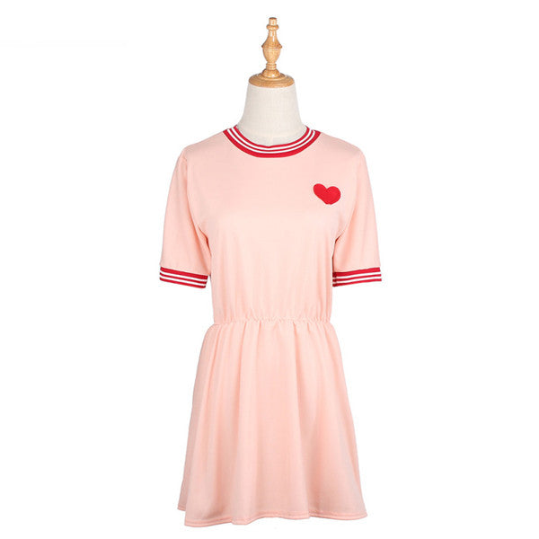 Embroidered Heart Dress (2 Colors)