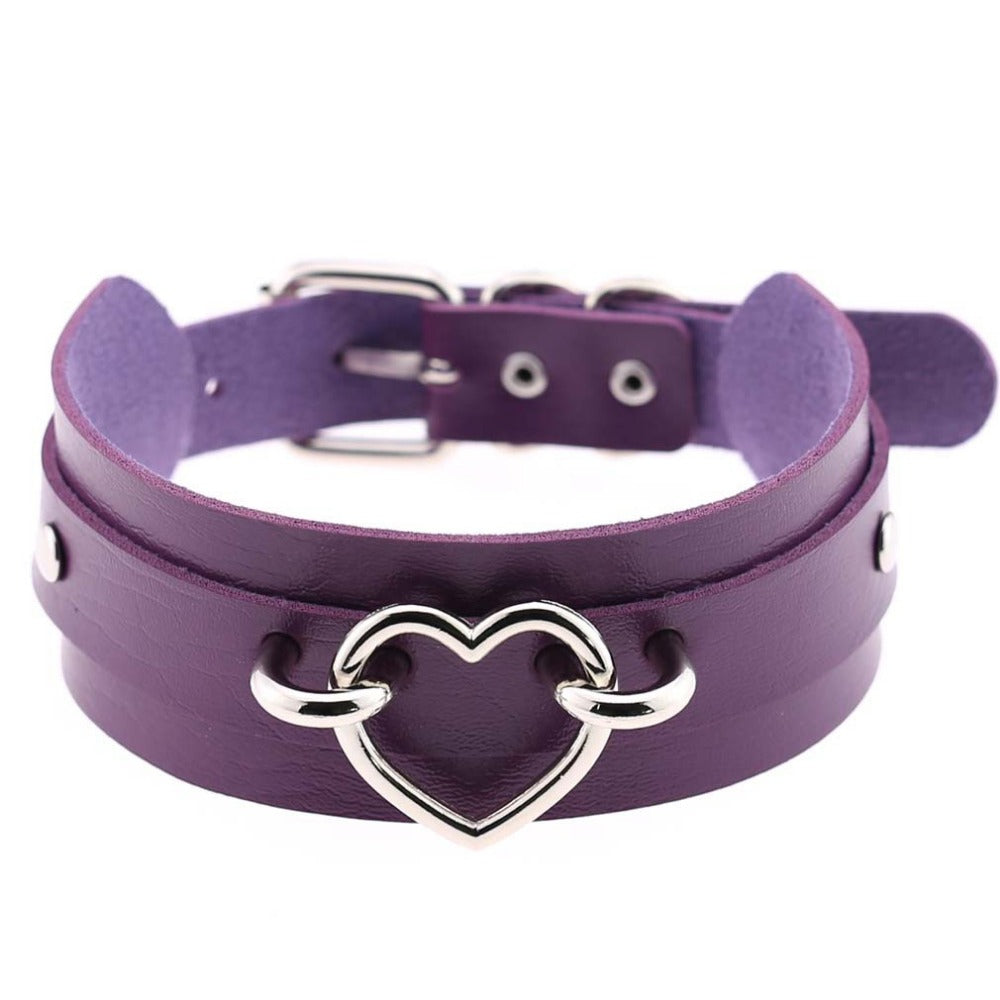 Leather Heart Choker (6 Colors)