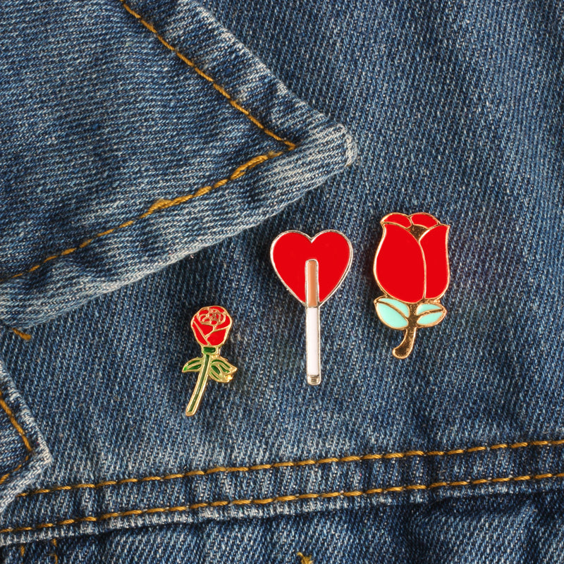Flowery Heart Pins (3 Variants)