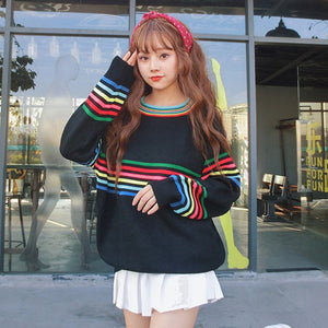 Rainbow Stripe Sweater (2 Colors)