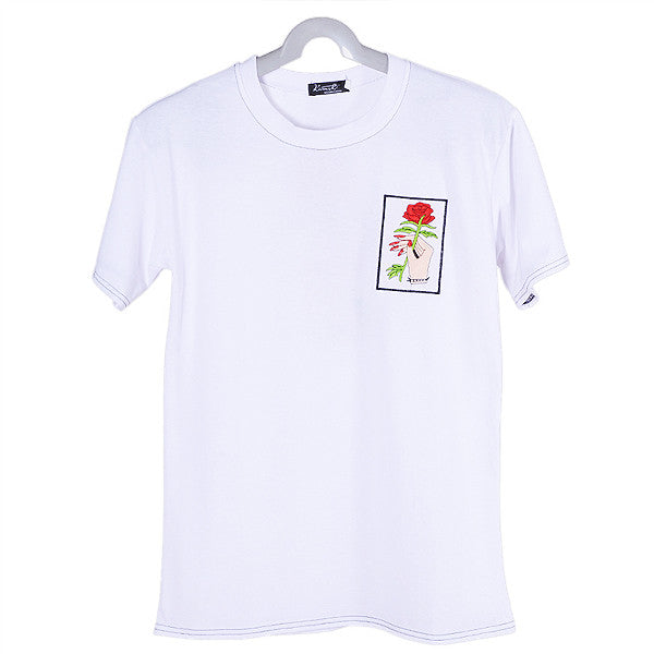 Single Rose Embroidered Tee (2 Colors)