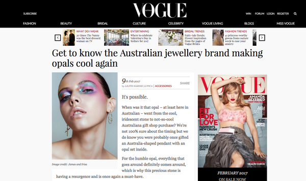 Vogue online features James & Irisa