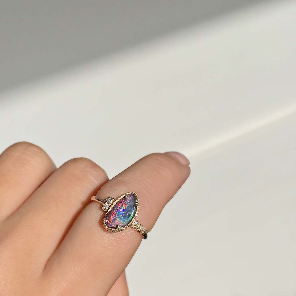 Asymmetric Boulder Opal Ring - James & Irisa Jewellery