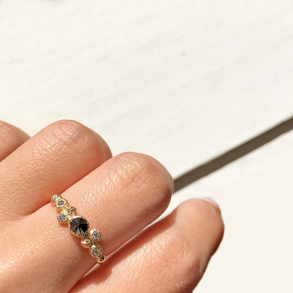 Meteorolite Black Diamond Ring (9K) - James & Irisa Jewellery