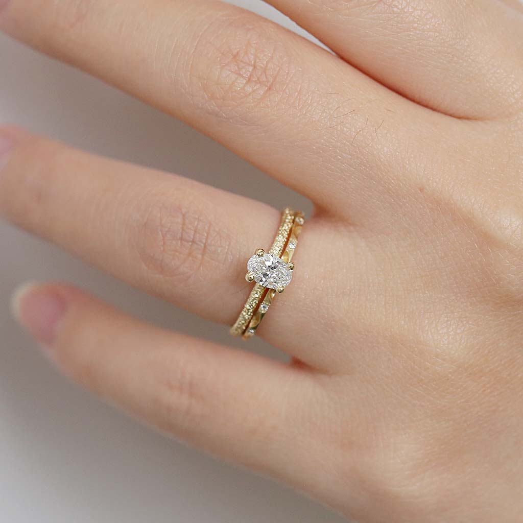 Oval Diamond Textured Ring