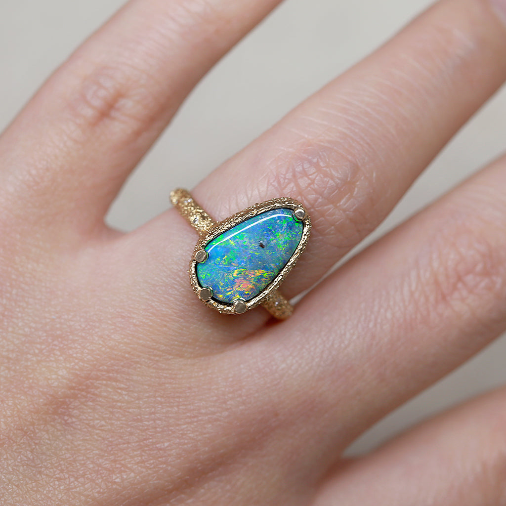 Galaxy Solid boulder Opal Ring