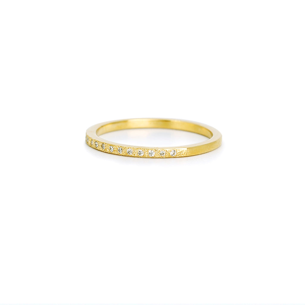Half Eternity Textured Diamonds Band Ring