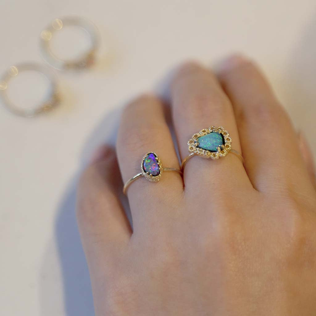 Halo Opal Ring (9K) - James & Irisa Jewellery