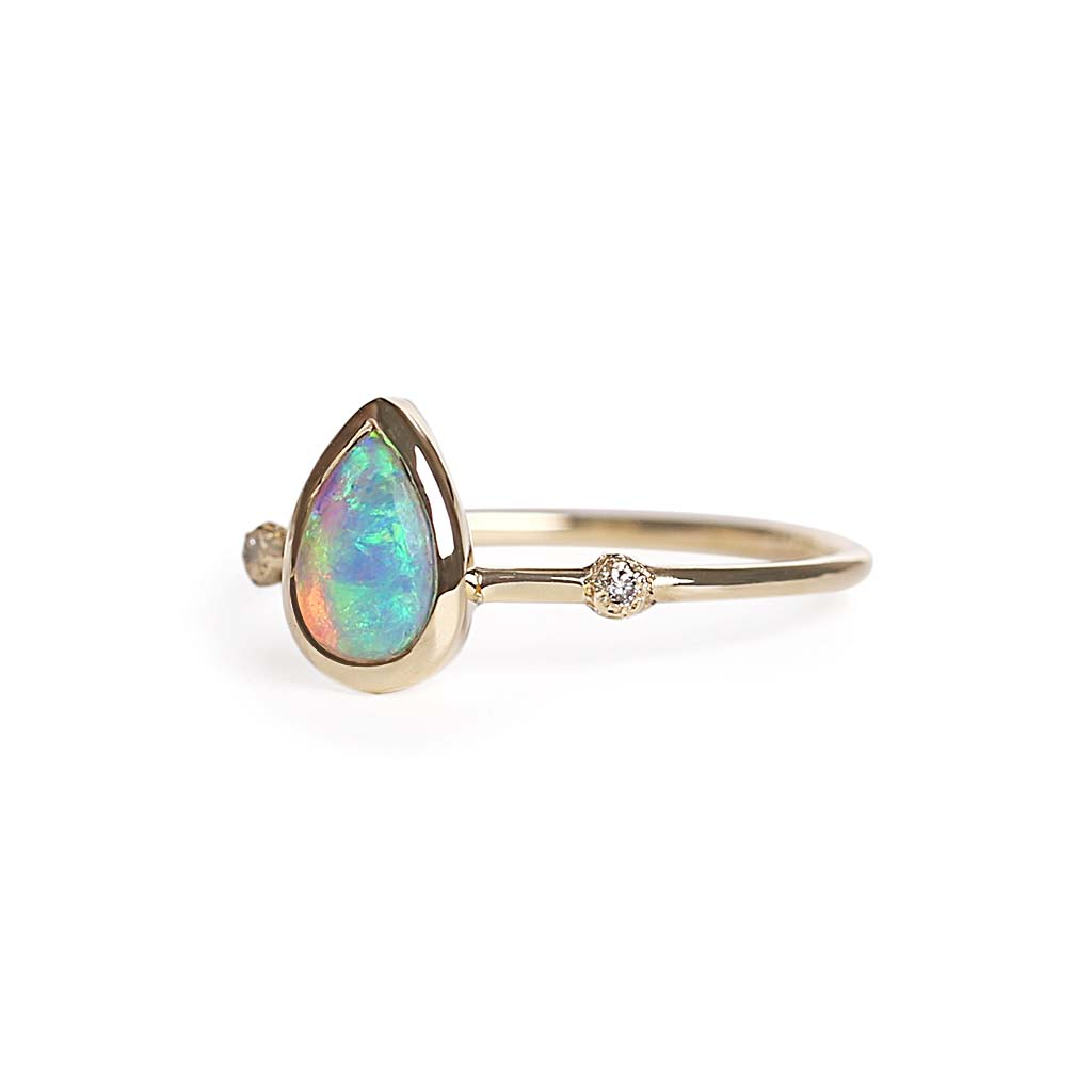 Duo points pear opal ring