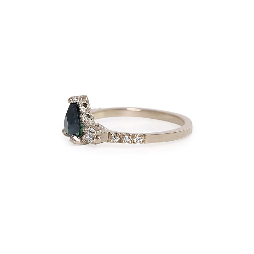 Destiny pear teal sapphire Ring