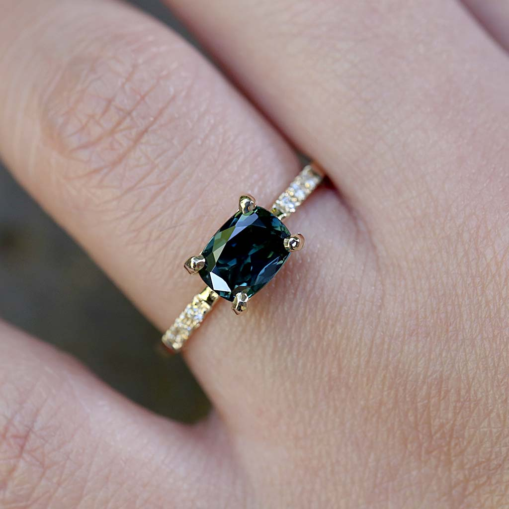 Cushion Parti Sapphire Solitaire Ring