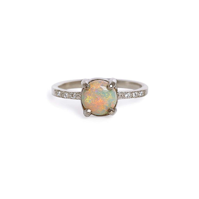 Opal solitaire textured ring