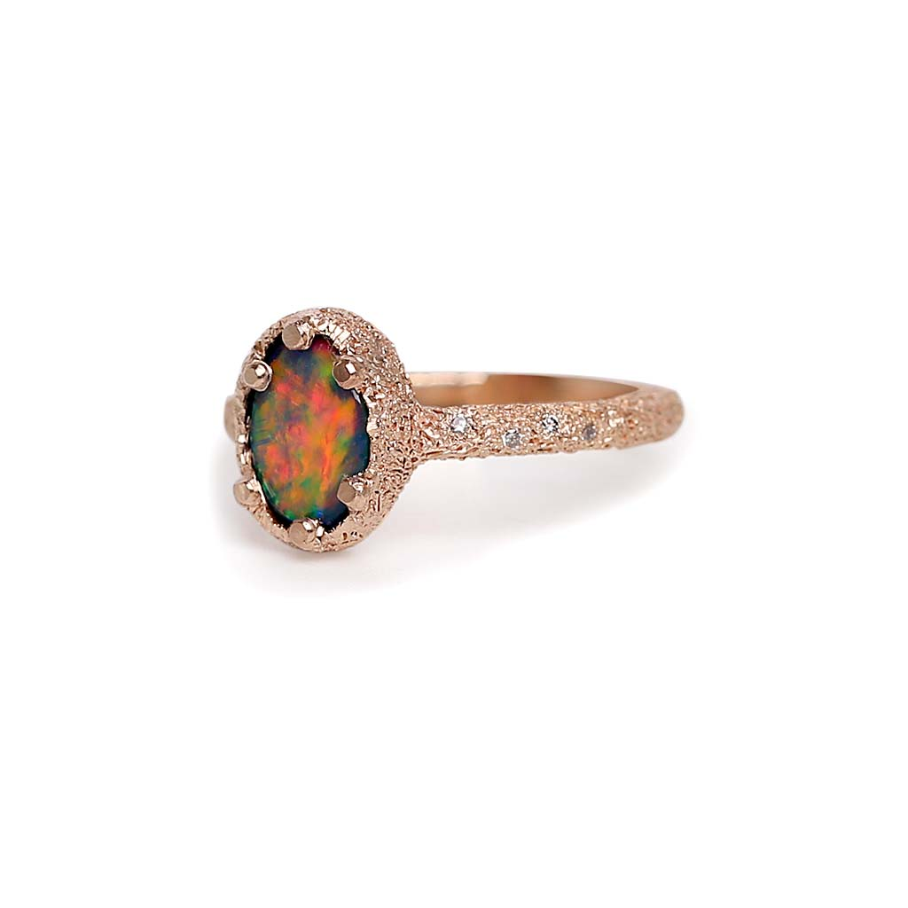 Galaxy Oval Black Opal Doublet Ring 1