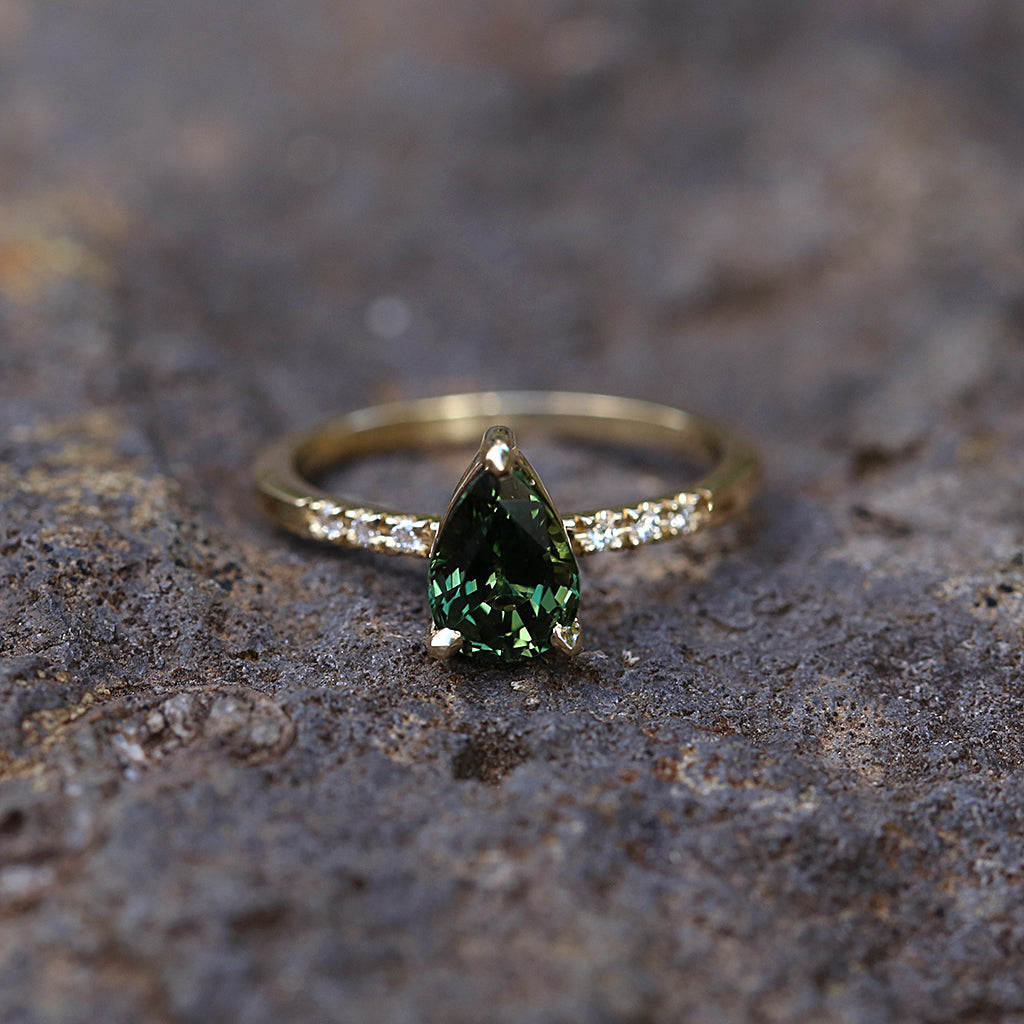 Pear Green Sapphire Solitaire Ring