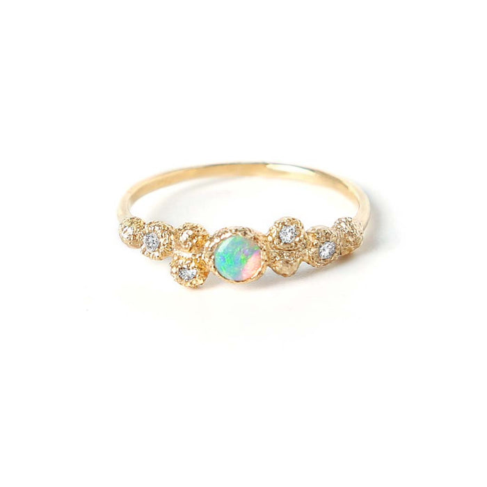 Meteorolite Opal Diamond Ring (14K)