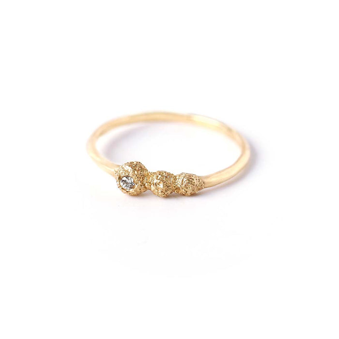 Meteorolite Diamond Point Ring (14K)