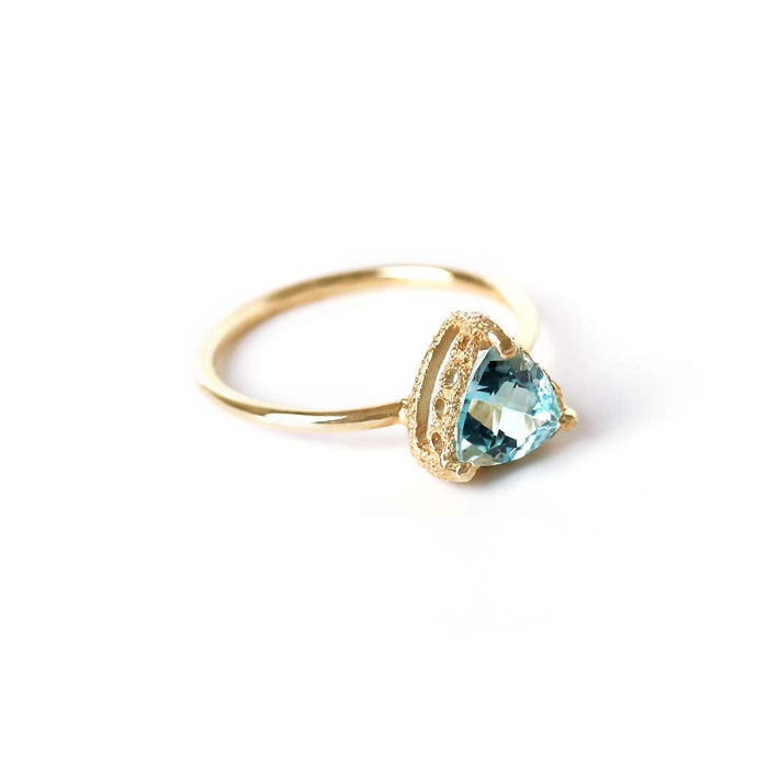 Meteor Crater Blue Topaz Ring (9K) - James & Irisa Jewellery