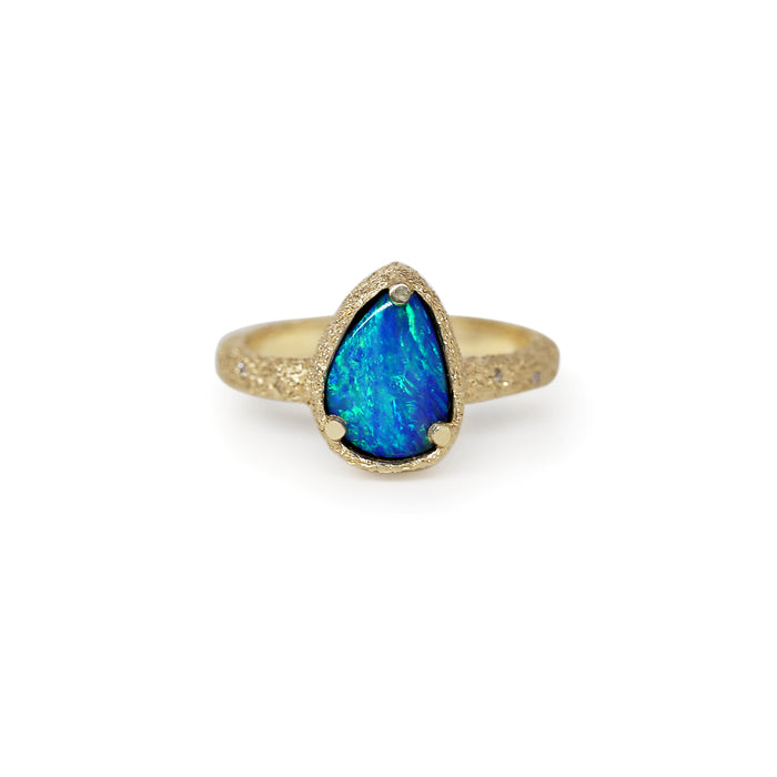 Galaxy free-form Black Opal Doublet Ring