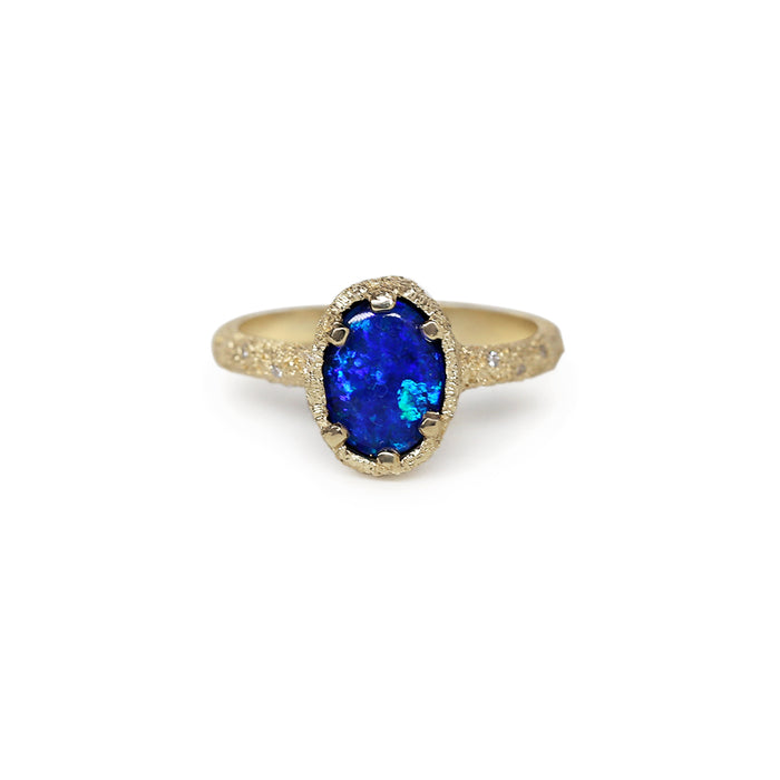 Galaxy Oval Black Opal Doublet Ring 4