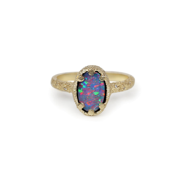 Galaxy Oval Black Opal Doublet Ring 2