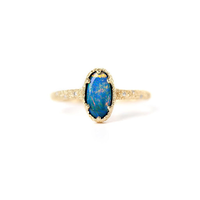 Meteorite Firework Opal Ring (14k) - James & Irisa Jewellery