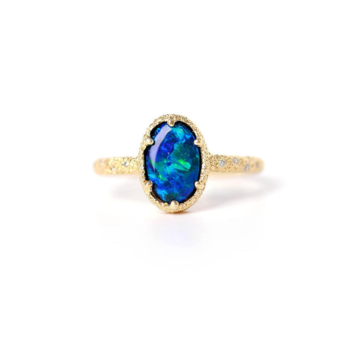 Meteorite Galaxy Opal Ring (14k) - James & Irisa Jewellery