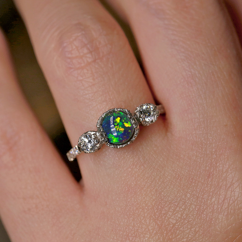 Destiny black opal ring