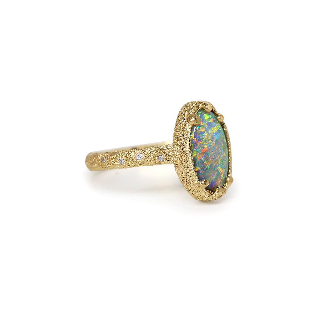 Galaxy solid black opal ring 2