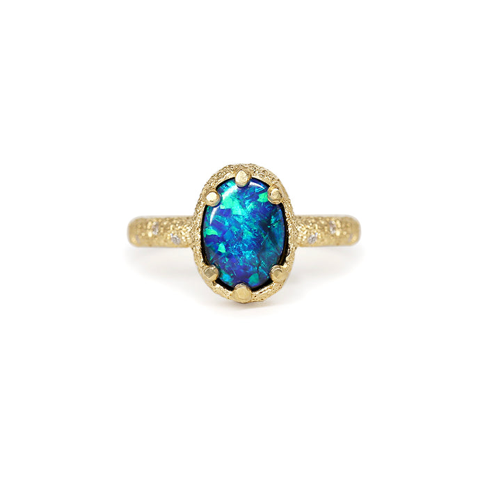 Galaxy solid black opal ring 1