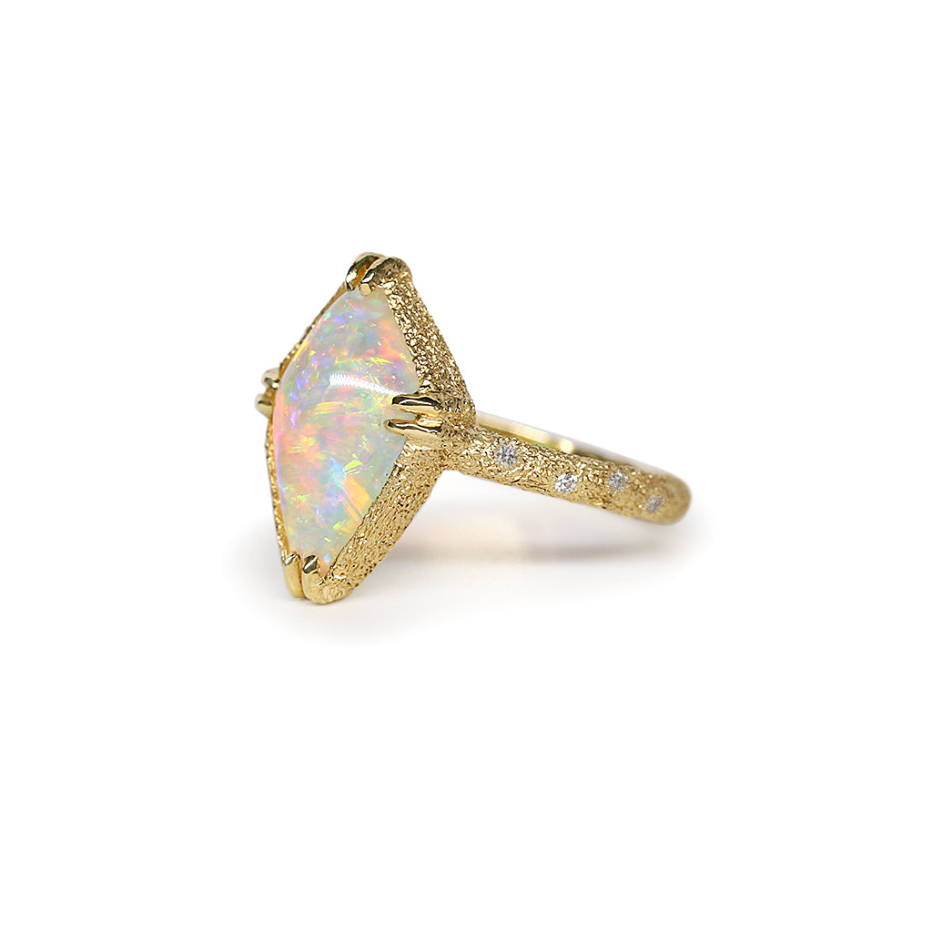 Galaxy Diamond Crystal Opal Ring