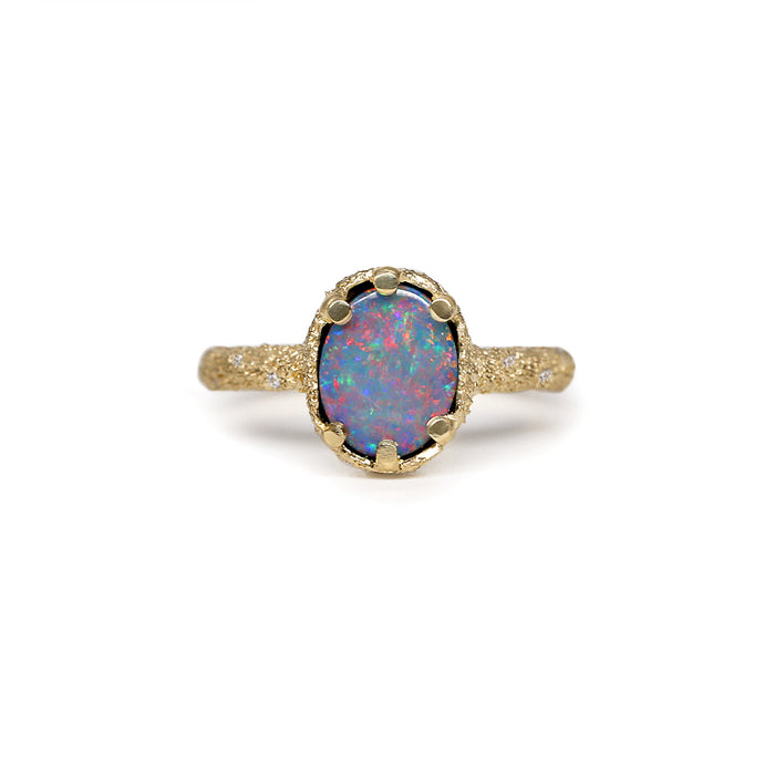 Galaxy Oval Black Opal Doublet Ring 3