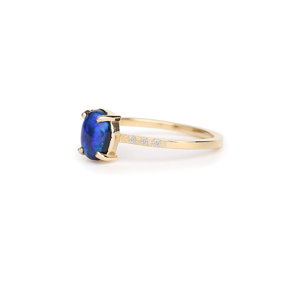 Oval black opal solitaire textured Ring