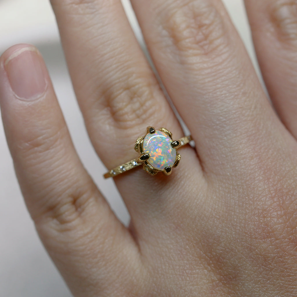 Elements oval crystal opal ring