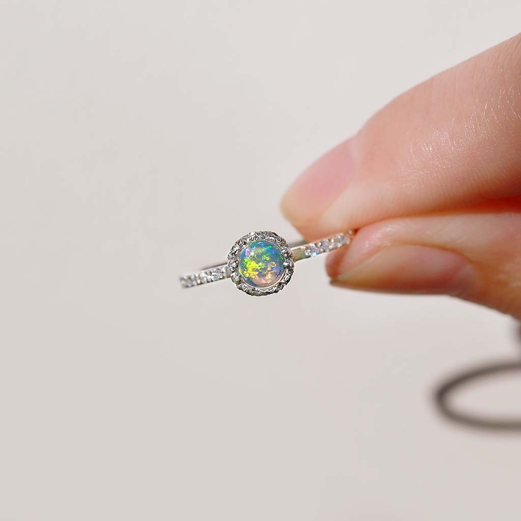 Promise Opal Solitaire Ring - James & Irisa Jewellery