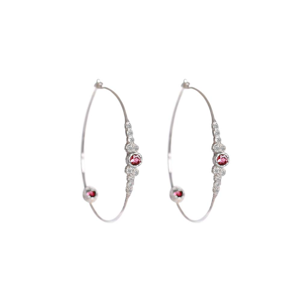 Meteorites Pink Tourmaline Hoops - James & Irisa Jewellery