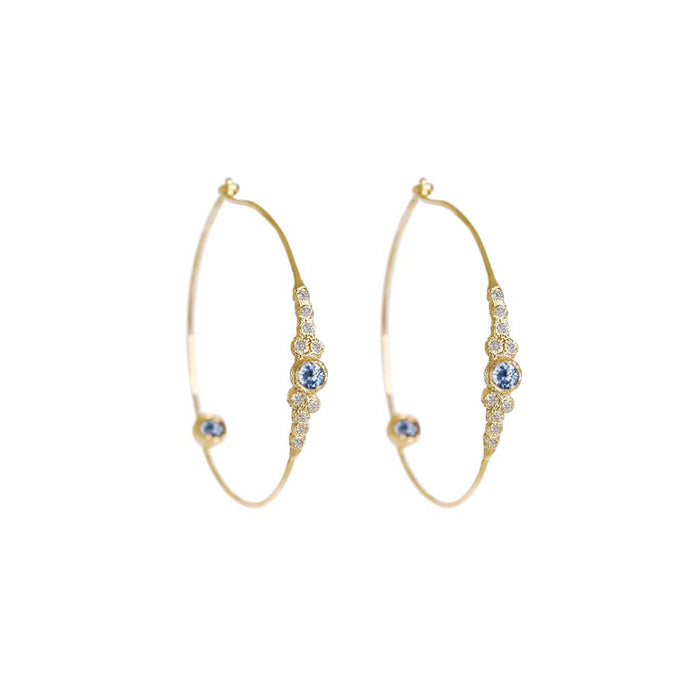 Meteorites Sapphire Hoops - James & Irisa Jewellery