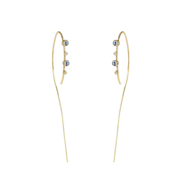 Meteor Rain Sapphire Diamond Hoops - James & Irisa Jewellery