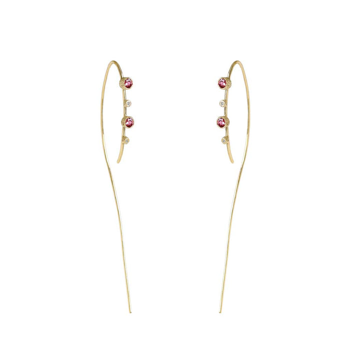 Meteor Rain Pink Tourmaline Diamond Hoops - James & Irisa Jewellery
