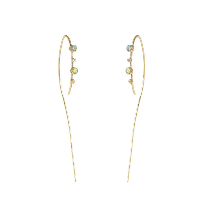 Meteor Rain Opal Diamond Hoops - James & Irisa Jewellery